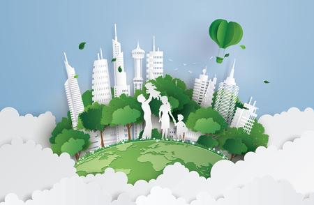 Ilustración de concept of green city with family.paperart and digital craft style. - Imagen libre de derechos