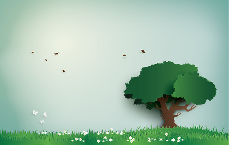 Illustration pour alone tree on the field with clear day. paper art and digital craft style. - image libre de droit