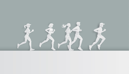 Illustration pour  Vector illustration running marathon,Man and Woman running, Paper art and digital craft style. - image libre de droit