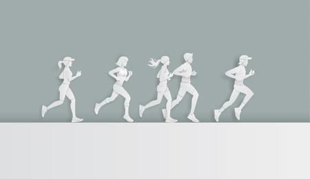 Ilustración de  Vector illustration running marathon,Man and Woman running, Paper art and digital craft style. - Imagen libre de derechos