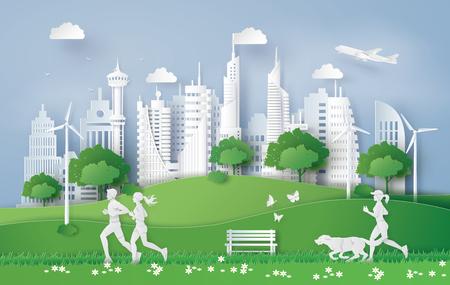 Ilustración de Illustration of eco concept,green city in the leaf. Paper art and digital craft style. - Imagen libre de derechos