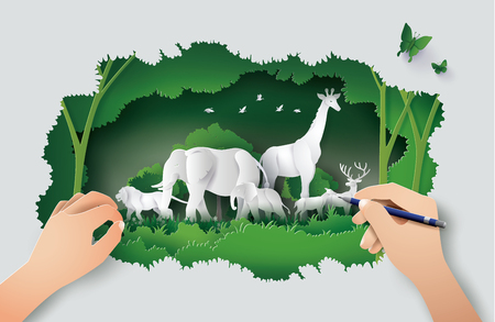 Illustration pour Concept of hand drawing with World Wildlife Day with the animal in forest , Paper art and digital craft style. - image libre de droit