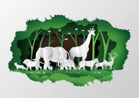 Illustration pour Concept of World Wildlife Day with the animal in frame tree , Paper art and digital craft style. - image libre de droit