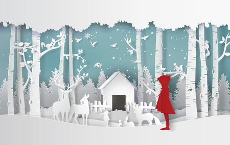 Illustration pour winter season with the girl in red coat and the animal in the jungle.Paper art and craft style. - image libre de droit