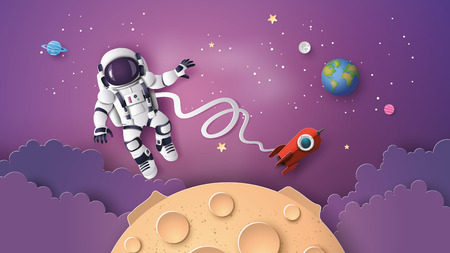 Ilustración de Astronaut Astronaut floating in the stratosphere. Paper art and craft style. - Imagen libre de derechos