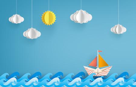 Illustration pour origami made colorful paper sailing boat - image libre de droit
