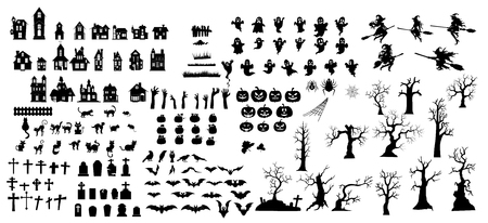 Illustrazione per Collection of halloween silhouettes icon and  character. - Immagini Royalty Free