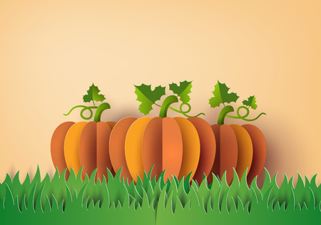 Ilustración de Yellow pumpkin on the green field , Paper art and craft style. - Imagen libre de derechos