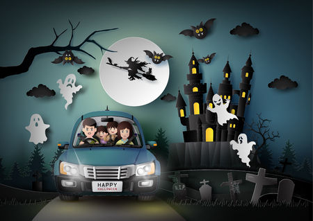 Photo pour Family driving in car with ghost and graveyard in fullmoon.paper art stlye. - image libre de droit