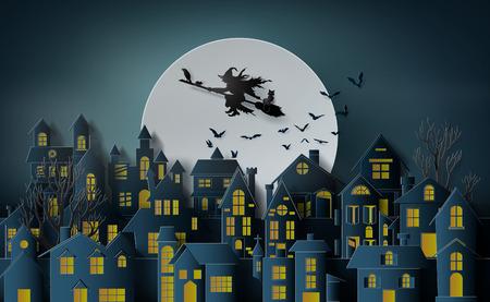 Ilustración de Paper art of happy halloween, Witch riding a broom flying in the sky over the abandoned village - Imagen libre de derechos