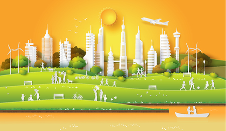 Ilustración de Concept of eco friendly and save the earth and world environment day with the people enjoy in the city park sunset time, paper art and digital craft style - Imagen libre de derechos