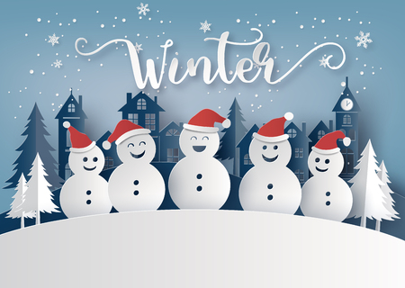 Illustration pour Winter season and Merry Christmas with snow man, paper art concept - image libre de droit