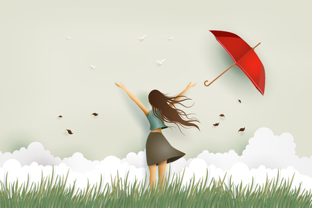 Ilustración de Illustration of  woman's day, funny beautiful girl and red umbrella on the field. Paper art and craft style. - Imagen libre de derechos