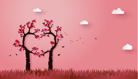 Illustration for concept of love and valentine day with love tree, paper art 3d from digital craft. - Royalty Free Image