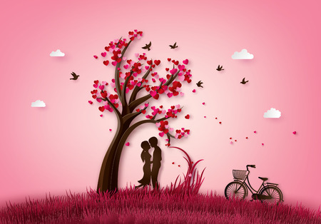 Illustration for illustration  of love and valentine day two enamored under a love tree,paper 3d from digital craft. - Royalty Free Image