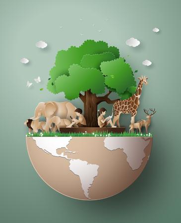 Ilustración de World Wildlife Day with the animal in forest , Paper art and digital craft style. - Imagen libre de derechos