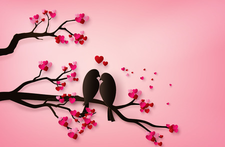 Illustration for love Birds perched on a branch of a tree. paper art 3d from digital craft. - Royalty Free Image