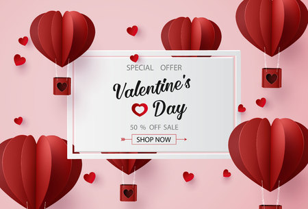 Illustration pour  Valentines day sale with  Balloon heart shape. paper art 3d from digital craft style. - image libre de droit