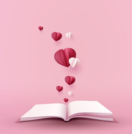 Illustration for concept of love and valentine day with hot  heart shape over the book, paper art 3d from digital craft. - Royalty Free Image