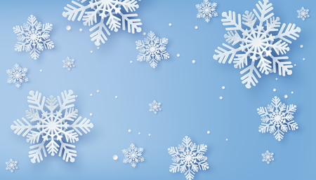 Illustration pour Christmas card with paper cut  snow flake,  Merry Christmas design. - image libre de droit