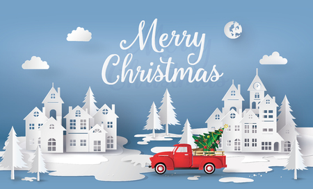 Illustration pour Merry Christmas and Happy New Year  with red truck and christmas tree. paper art 3D style. - image libre de droit