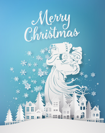 Illustration for Merry Christmas and Happy new year , with santa clause pour down snowflake on the village  .Paper art 3d from digital craft. - Royalty Free Image