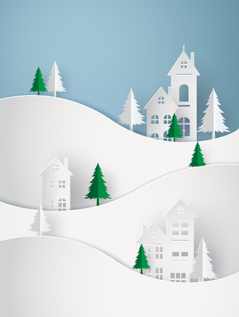 Illustration pour Winter Snow Urban Countryside Landscape City Village Happy new year and Merry christmas,paper art 3D with digital craft. - image libre de droit