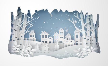 Illustration for Winter Snow Urban Countryside Landscape City Village ,Happy new year and Merry christmas,paper art and craft style. - Royalty Free Image