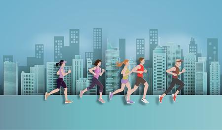 Ilustración de Vector illustration running marathon,Man and Woman running in the city, Paper art and digital craft style. - Imagen libre de derechos