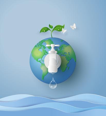 Ilustración de concept of eco and wolrd water day .paper art and craft style - Imagen libre de derechos