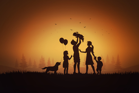 Illustration pour Happy family  day, father mother and children silhouette playing on grass in sunset. - image libre de droit