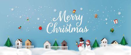 Ilustración de Merry Christmas and Happy New Year. with snow man ,greeting card paper art and paper cut style. - Imagen libre de derechos