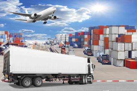 Photo for Truck container commercial delivery cargo being unloaded with air plane on the sky at the airport - Royalty Free Image