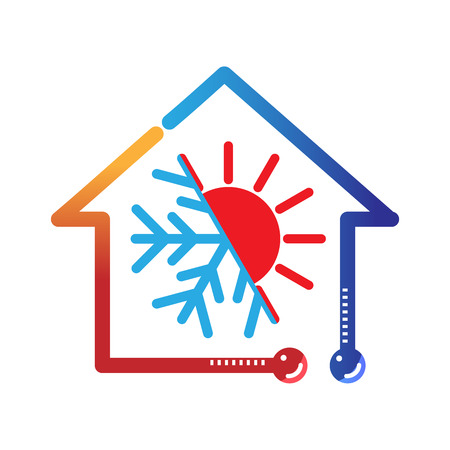Photo for hot cold climate hvac vector icon - Royalty Free Image