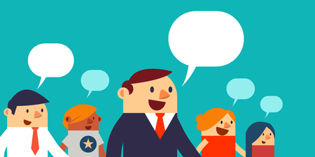 Illustration for Vector Illustration Business Peoples and Speech Bubbles, Web Banner. - Royalty Free Image