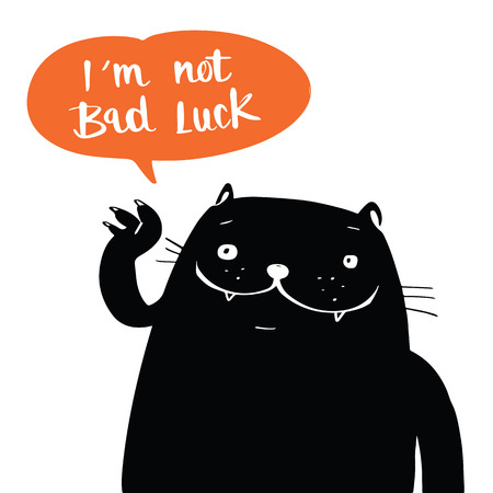 Illustrazione per Illustration vector doodle style a black cat and i am not bad luck in balloon speech, cartoon design. - Immagini Royalty Free