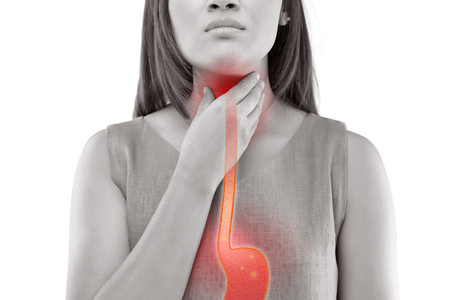 Photo pour Woman Suffering From Acid Reflux Or Heartburn-Isolated On White Background - image libre de droit
