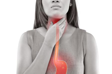 Foto de Woman Suffering From Acid Reflux Or Heartburn-Isolated On White Background - Imagen libre de derechos