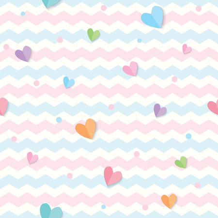 Illustration for Illustration vector of pastel hearts decorated on zigzag background design for seamless pattern. - Royalty Free Image