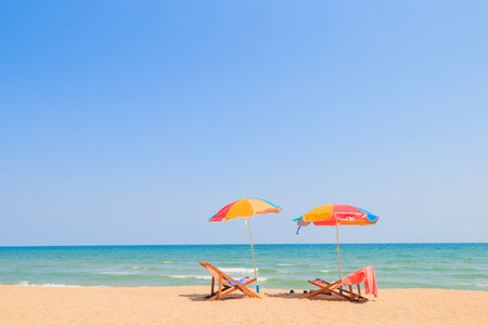 Photo for Beach chair and umbrella on sand beach - Royalty Free Image