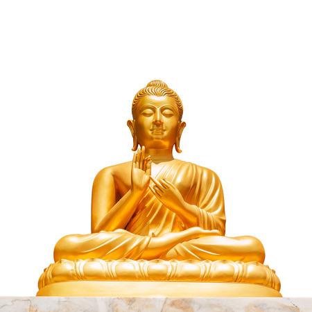 Foto de Golden buddha statue isolated on white background - Imagen libre de derechos