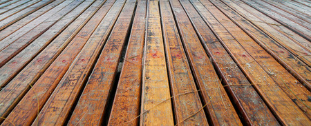 Photo for Perspective of old brown wooden plank background at the beach - Royalty Free Image