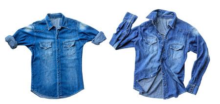 Foto de Close up blue denim shirt jeans isolated on white background - Imagen libre de derechos