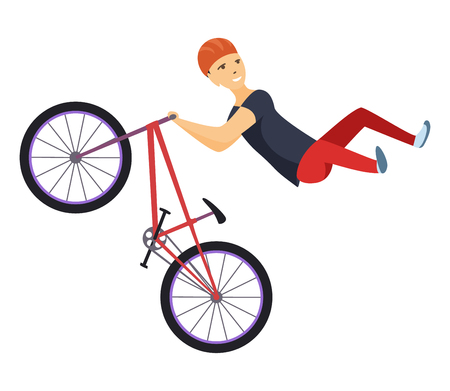 Ilustración de Ride on a sports bicycle, BMX cyclist performing a trick, mountain bike competition, color vector illustration isolated on a white background. Cyclist performs a trick, rider trial - Imagen libre de derechos