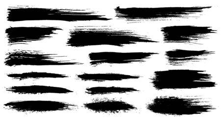 Ilustración de Vector set of grunge artistic brush strokes, brushes. Creative design elements. Grunge watercolor wide brush strokes. Black collection isolated on white background - Imagen libre de derechos