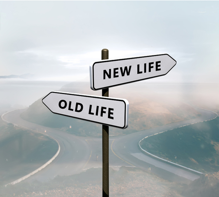 Photo pour New life vs old life sign - image libre de droit