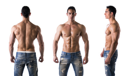 Photo pour Three views of muscular shirtless male bodybuilder: back, front and profile shot - image libre de droit