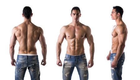 Foto de Three views of muscular shirtless male bodybuilder: back, front and profile shot - Imagen libre de derechos