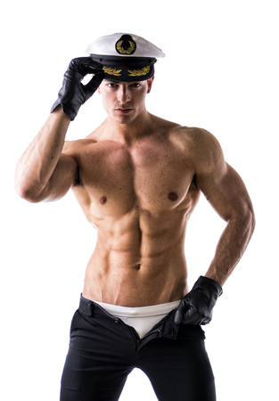 Photo pour Muscular shirtless male sailor with nautical hat, isolated on white - image libre de droit