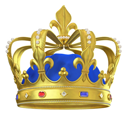 Photo pour Gold crown with jewels isolated on white - image libre de droit